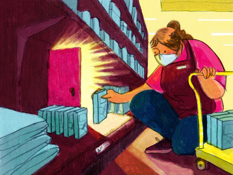 Illustration of masked woman stocking shelves next to light illuminating from partially opened door.