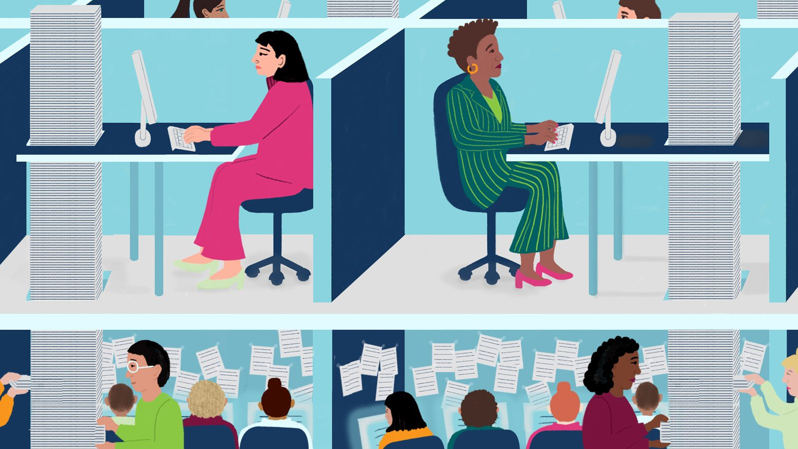 Illustration by Sophie Berg of workers in cubicles with stacks of papers on their desks.