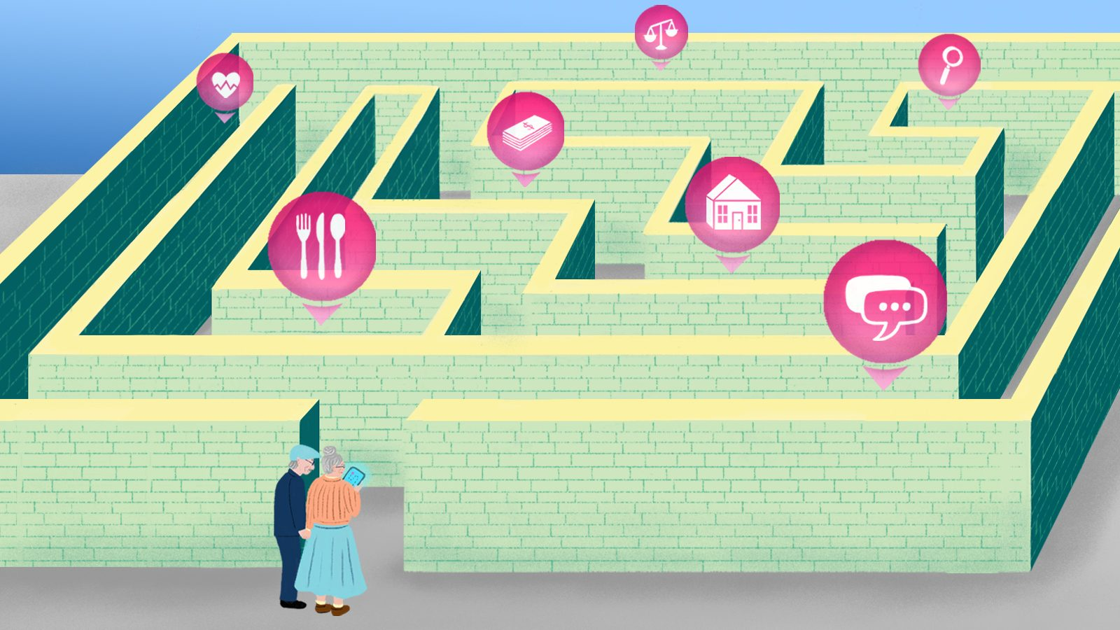 Illustration by Sophie Berg of elderly couple entering maze of digital icons.