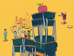 Illustration of students creating ideas and climbing on giant desks.