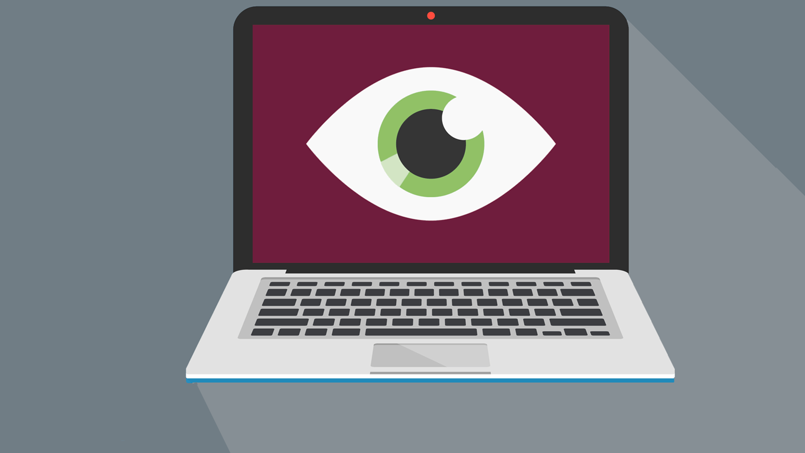 Illustration of green eye on burgundy laptop screen.