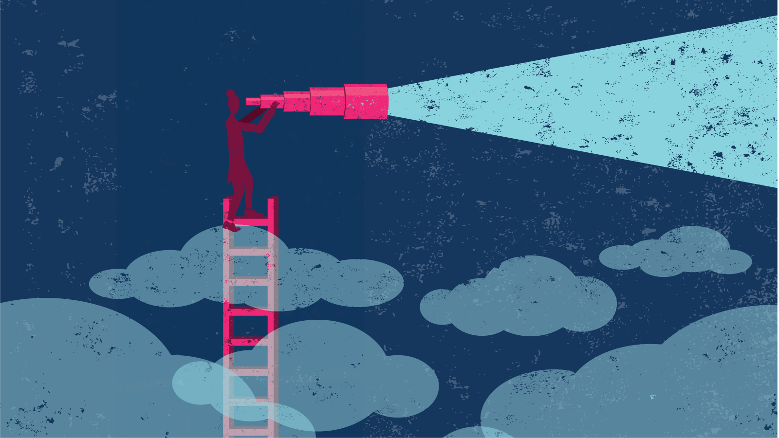 Illustration of person on ladder in the clouds looking through giant telescope.