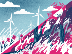 An illustration of 2 different climates, one with windmills to showcase new environmental tech