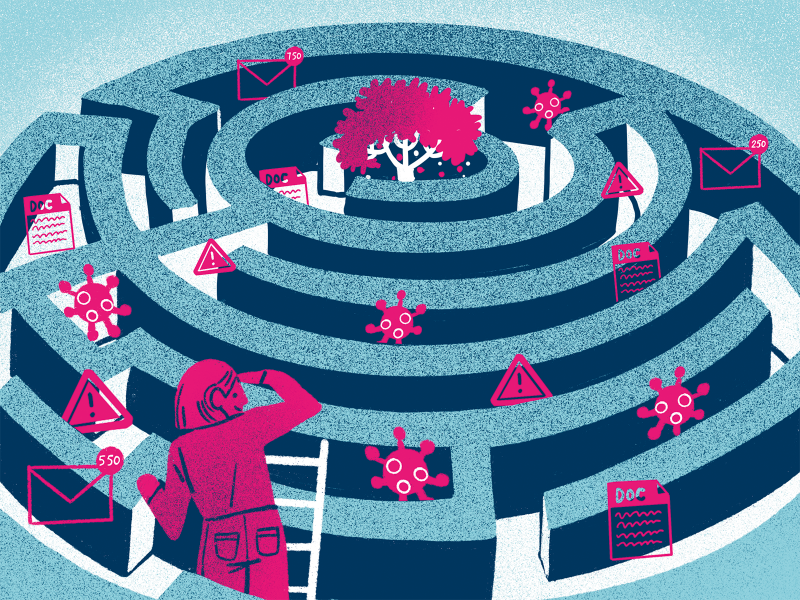 A person is trying to find their way to a tree in the centre of a maze, but there's lots of barriers on the way