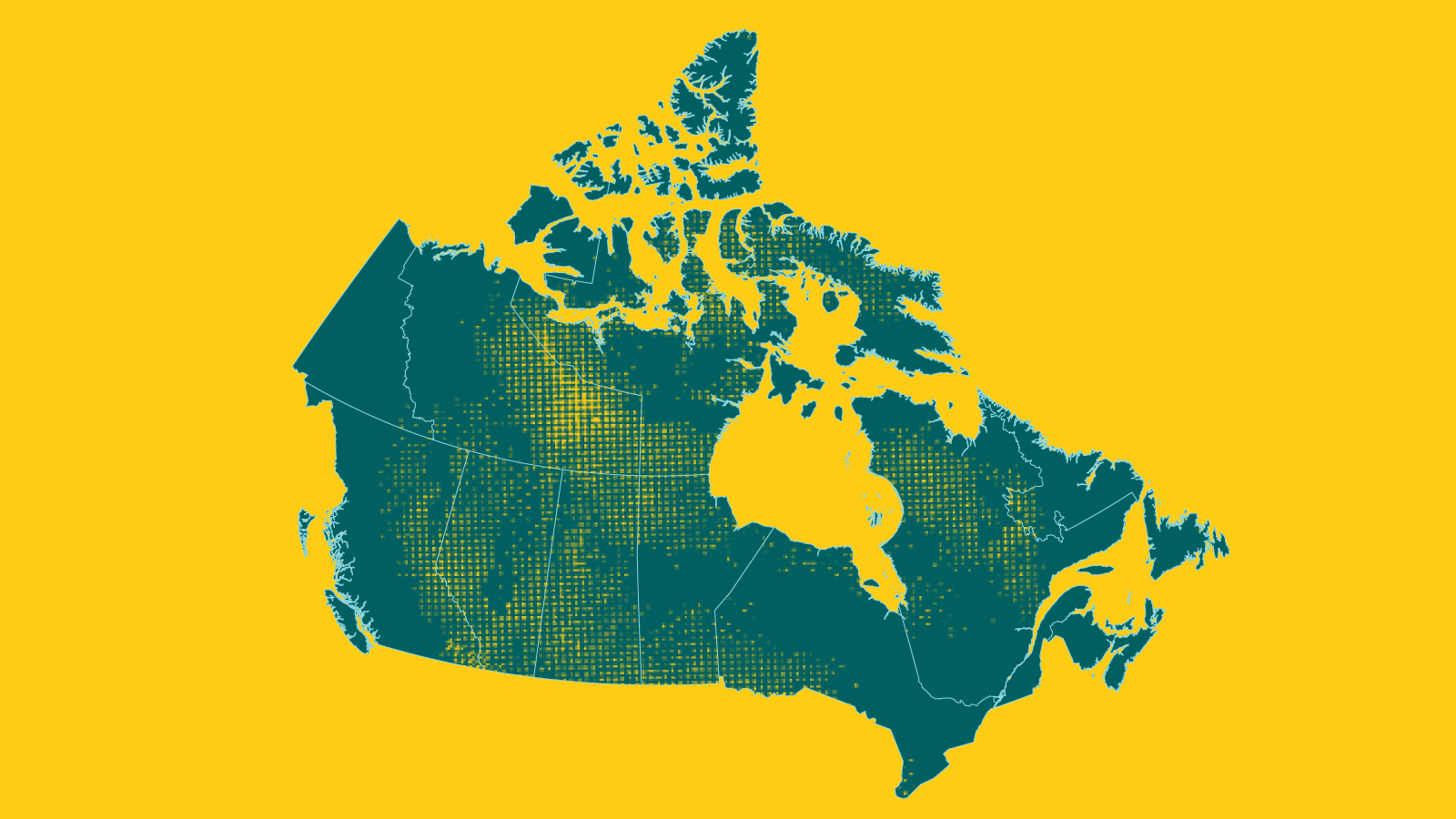 Map of Canada on yellow background.