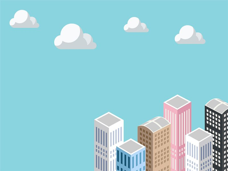 Illustration of buildings below clouds on a turquoise background.