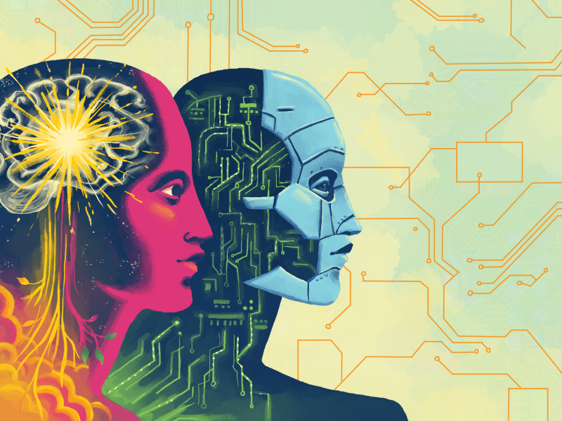 Abstract illustration of robot and human with the inner workings of their heads exposed.