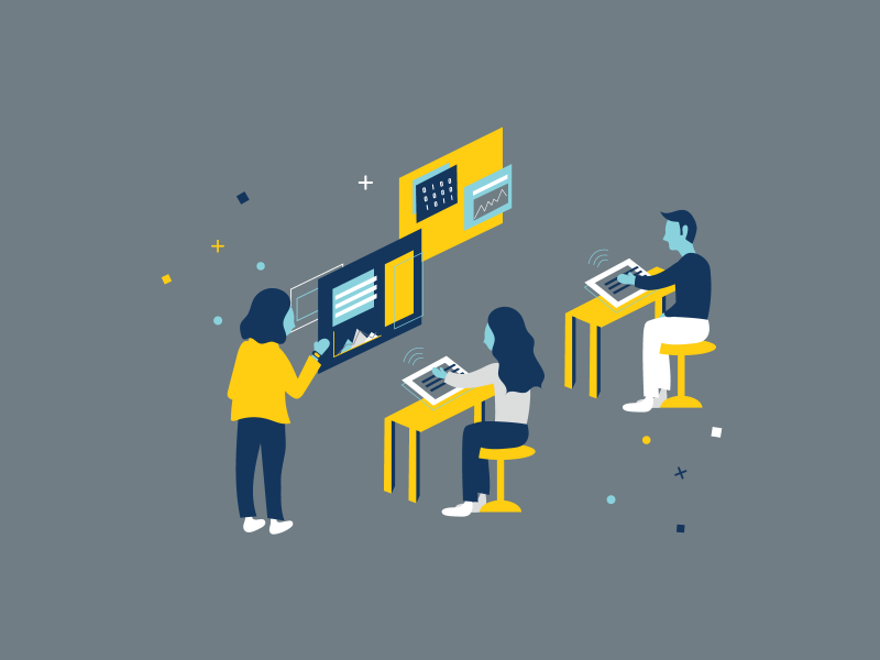 Illustration of people sitting at yellow desks working on devices that are sending signals to display screens.