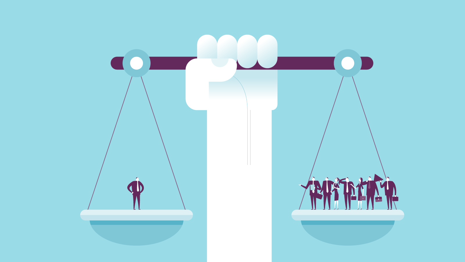 Illustration of large balance weighing people held up by arm.