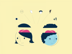 Abstract Illustration of cartoon people with the top of their heads raised displaying their brains, and symbols floating above.