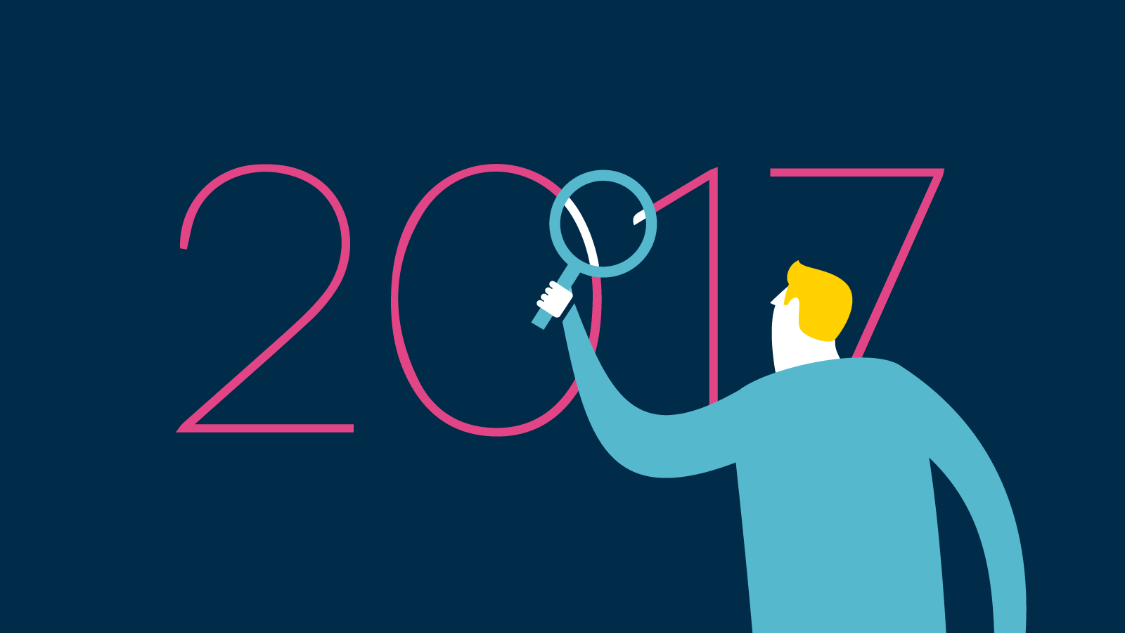 Illustration of man looking at 2017 through magnifying glass.