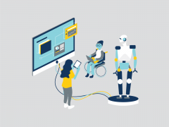Illustration of people working on computers and tablets with robot on platform connected to monitor.