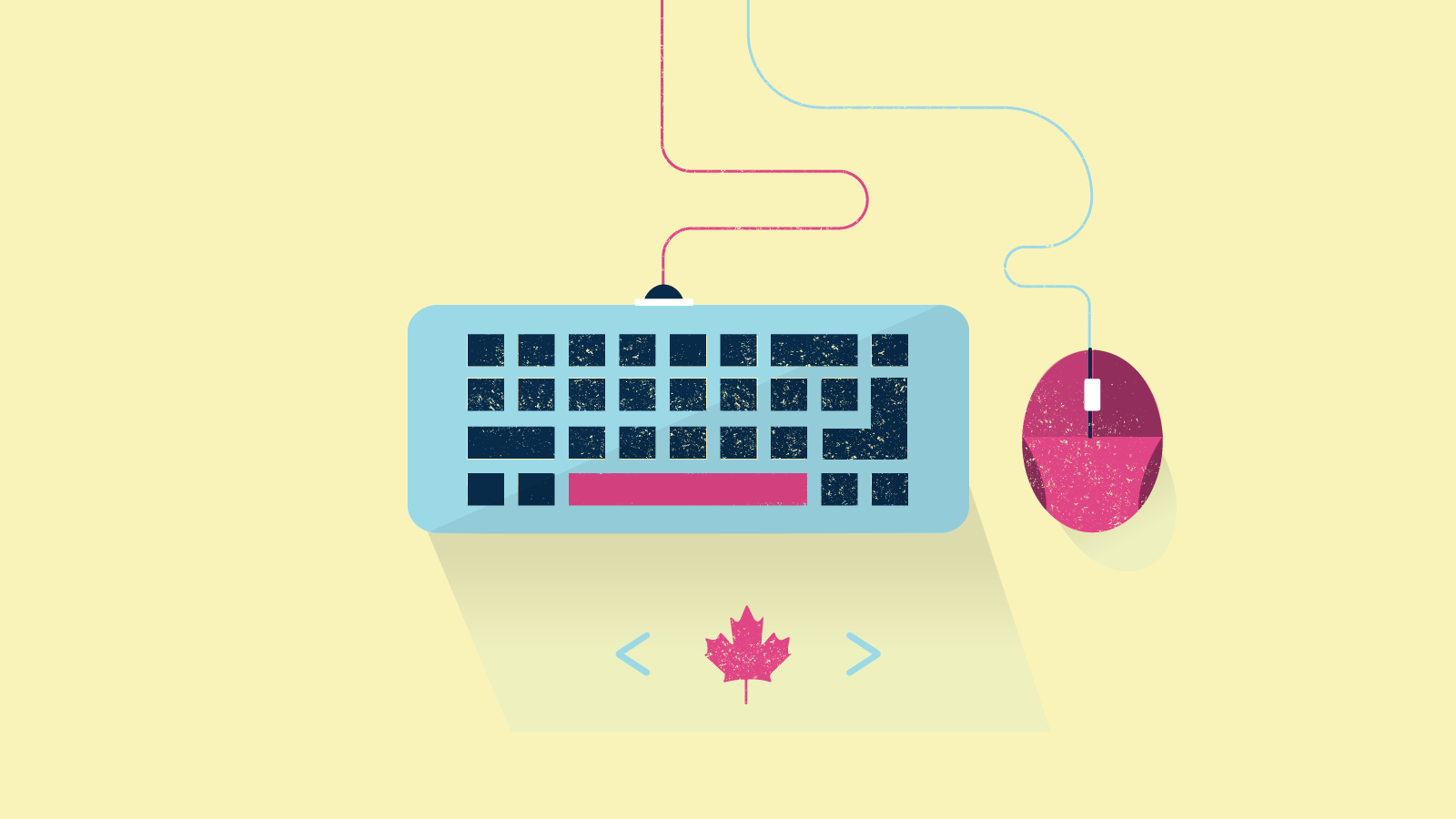 Illustration of Canadian maple leaf below keyboard and mouse.