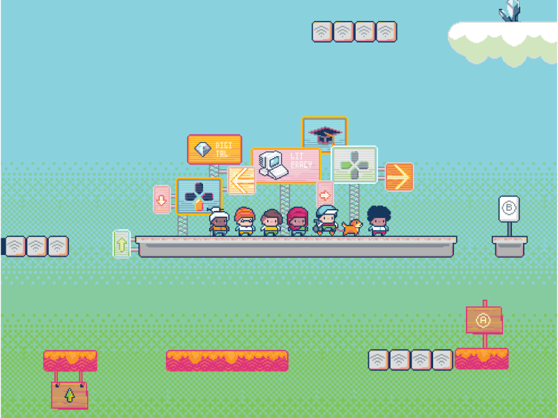 Illustration of video game characters on platform.