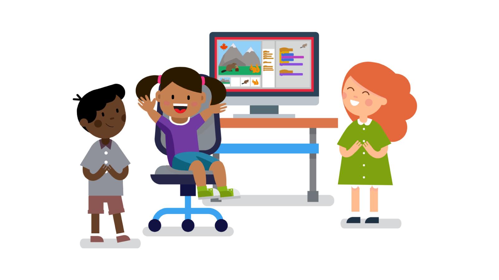 Illustration of cartoon children designing on computer.