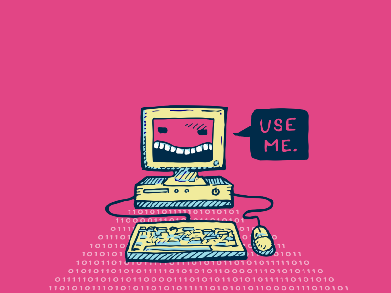 Illustration of anthropomorphized computer saying