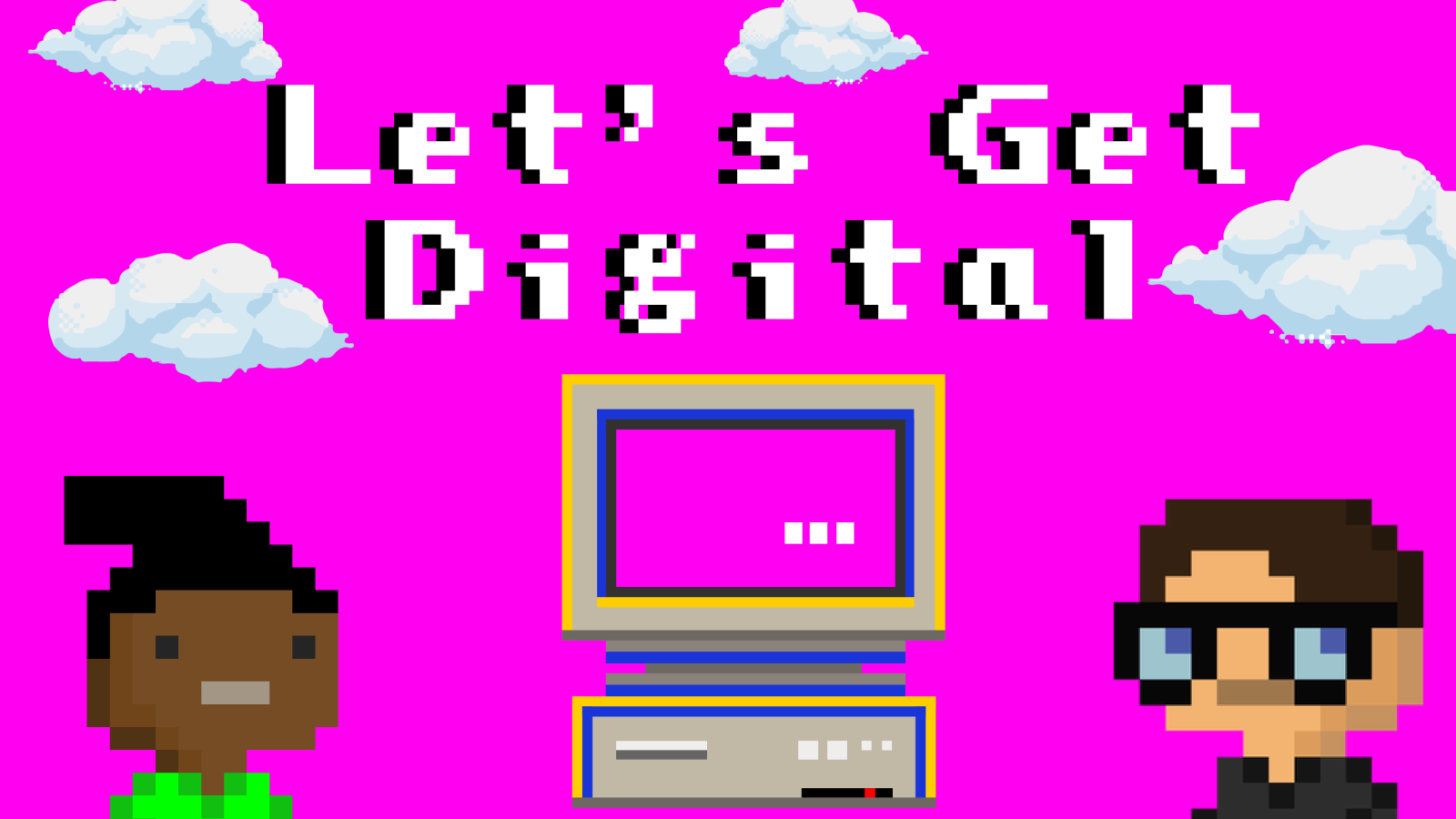 Illustration of two people, a computer, and clouds on a magenta background.