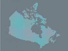 Digitized map of Canada.