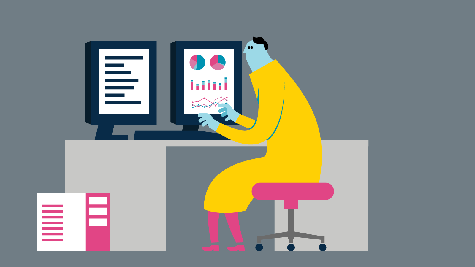 Illustration of person sitting and working at desk with two monitors.