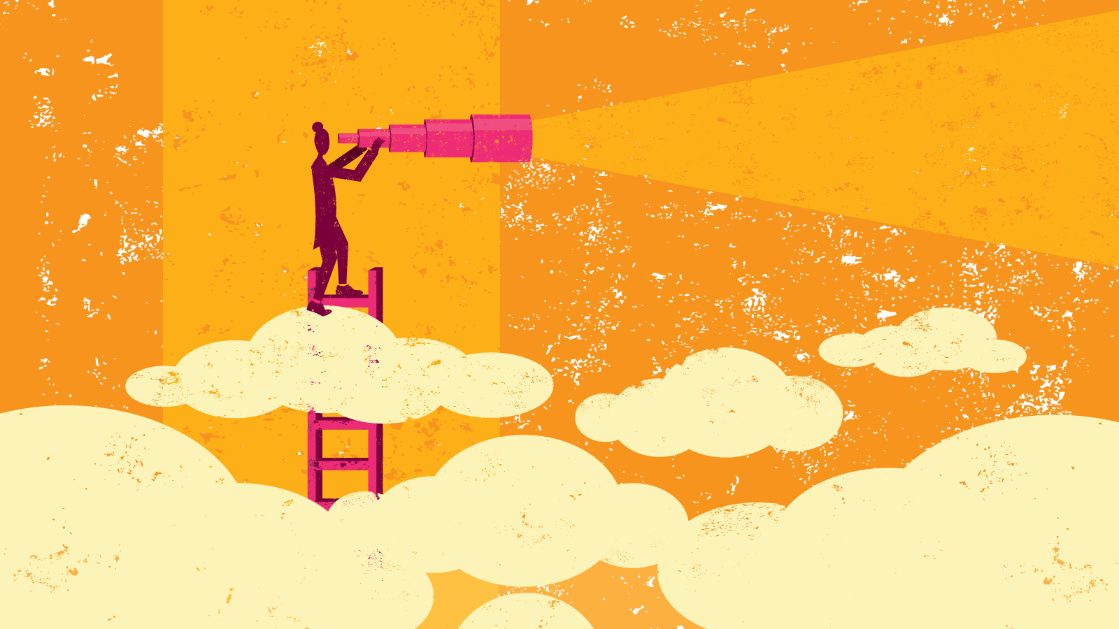 Illustration of person on ladder in clouds looking through giant telescope.