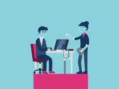 Illustration of two people working (one sitting, one standing) at a laptop on a desk on a raised platform.