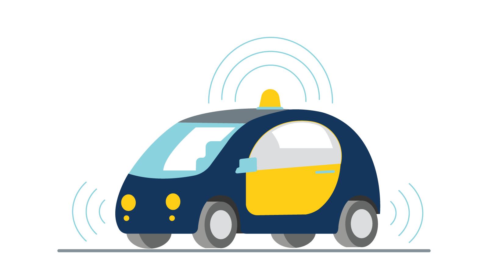 Illustration of car transmitting connecting signals.