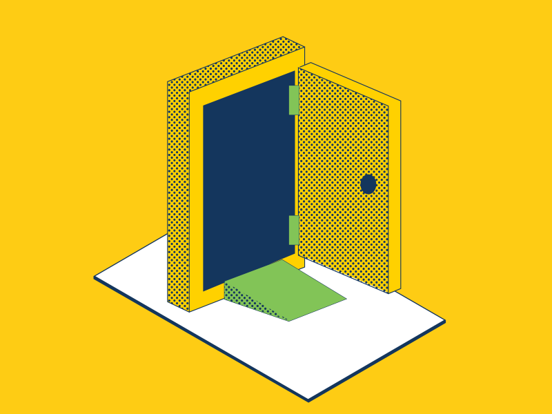 Illustration of door with ramp on platform on yellow background.