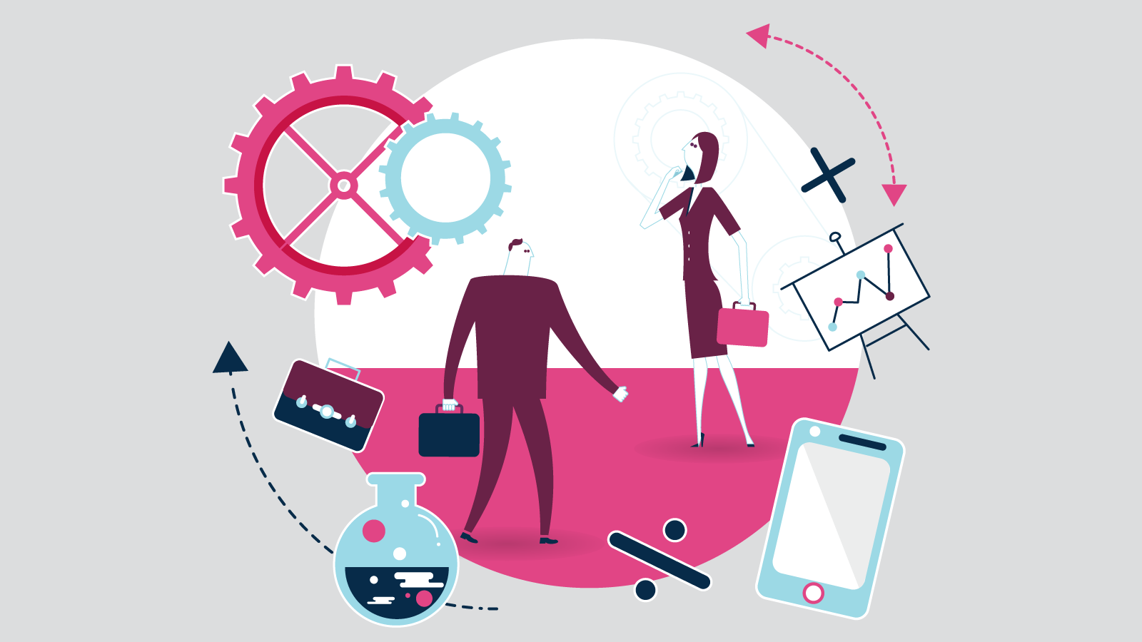 Illustration of two people on carrying briefcases surrounded by technology items on a grey background.
