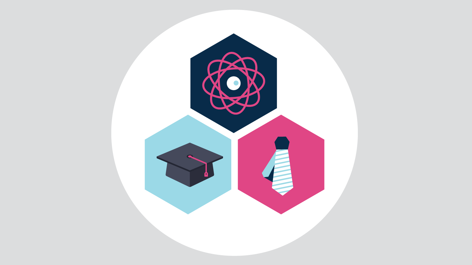 Illustration of tie, graduation cap, and atom each inside a coloured hexagon within white circle on grey background.