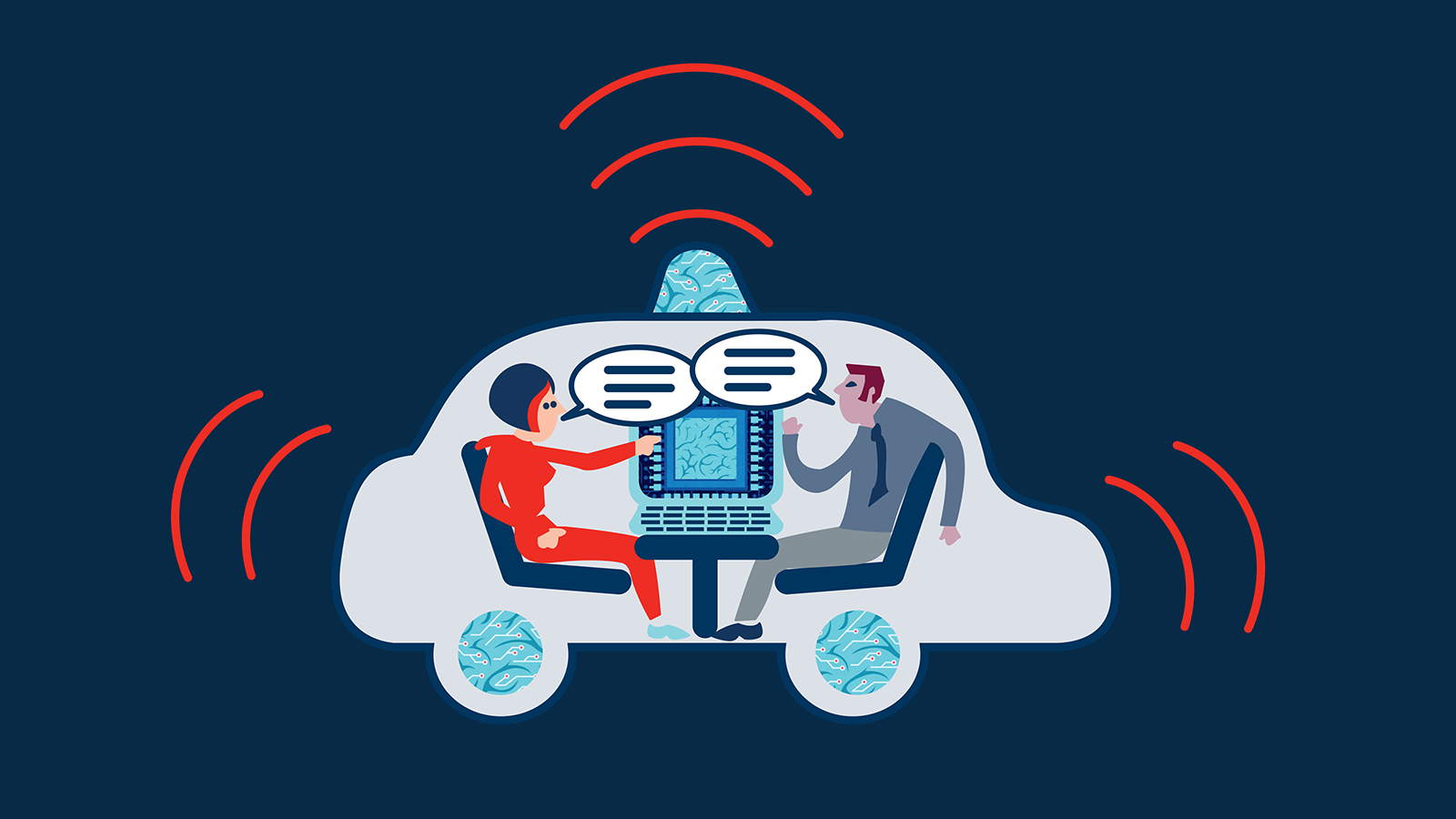 Illustration of people talking inside car that is transmitting signals.
