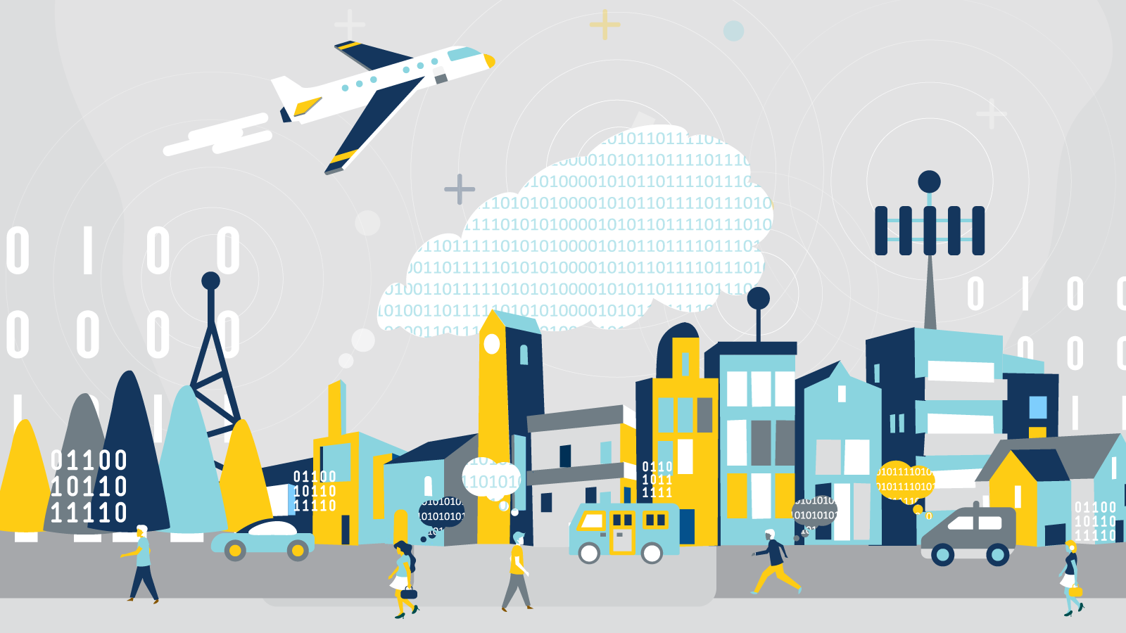Illustration of city with airplane flying above.