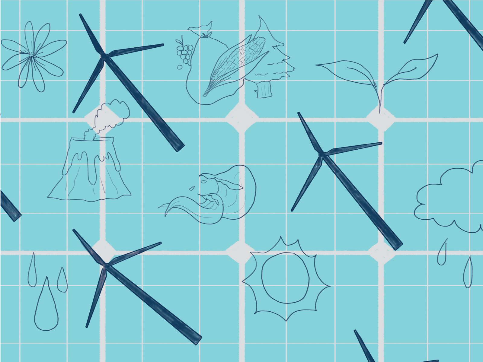 Illustration of wind turbines and nature on a blue grid background.