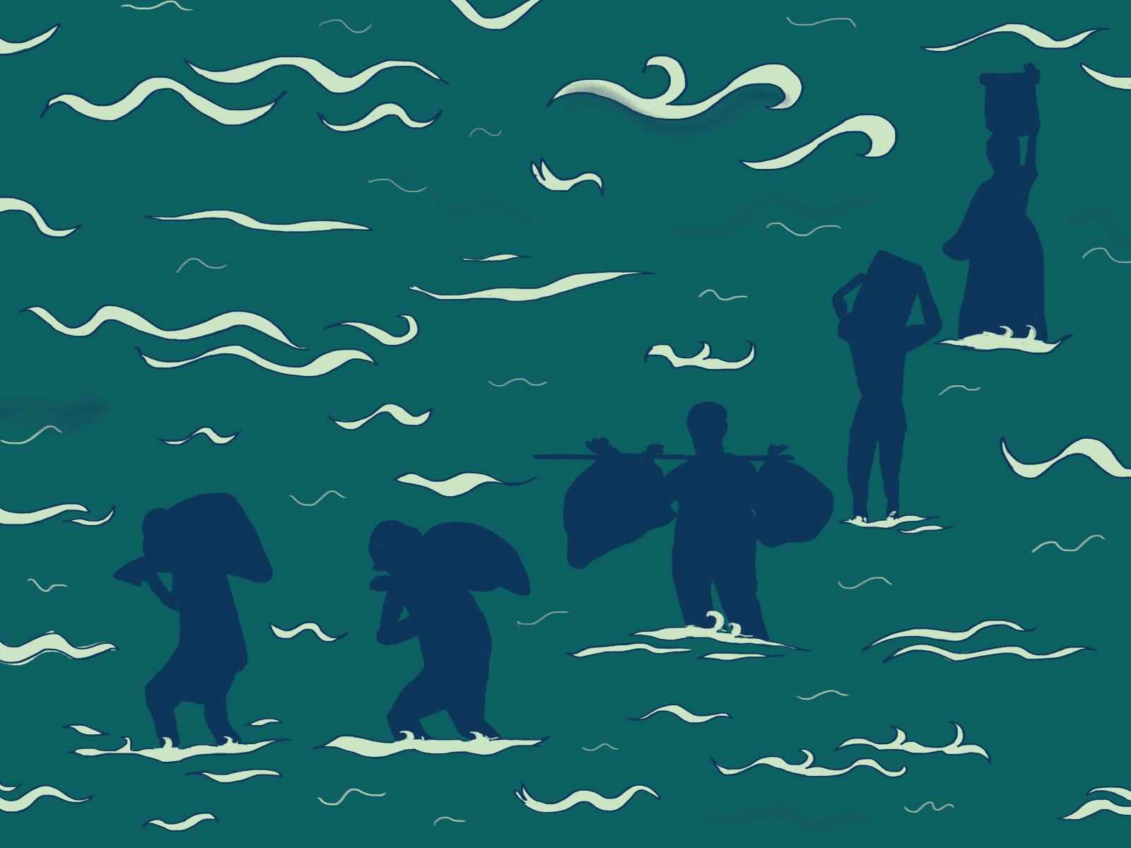Illustration of people carrying bags and other heavy items through the water.