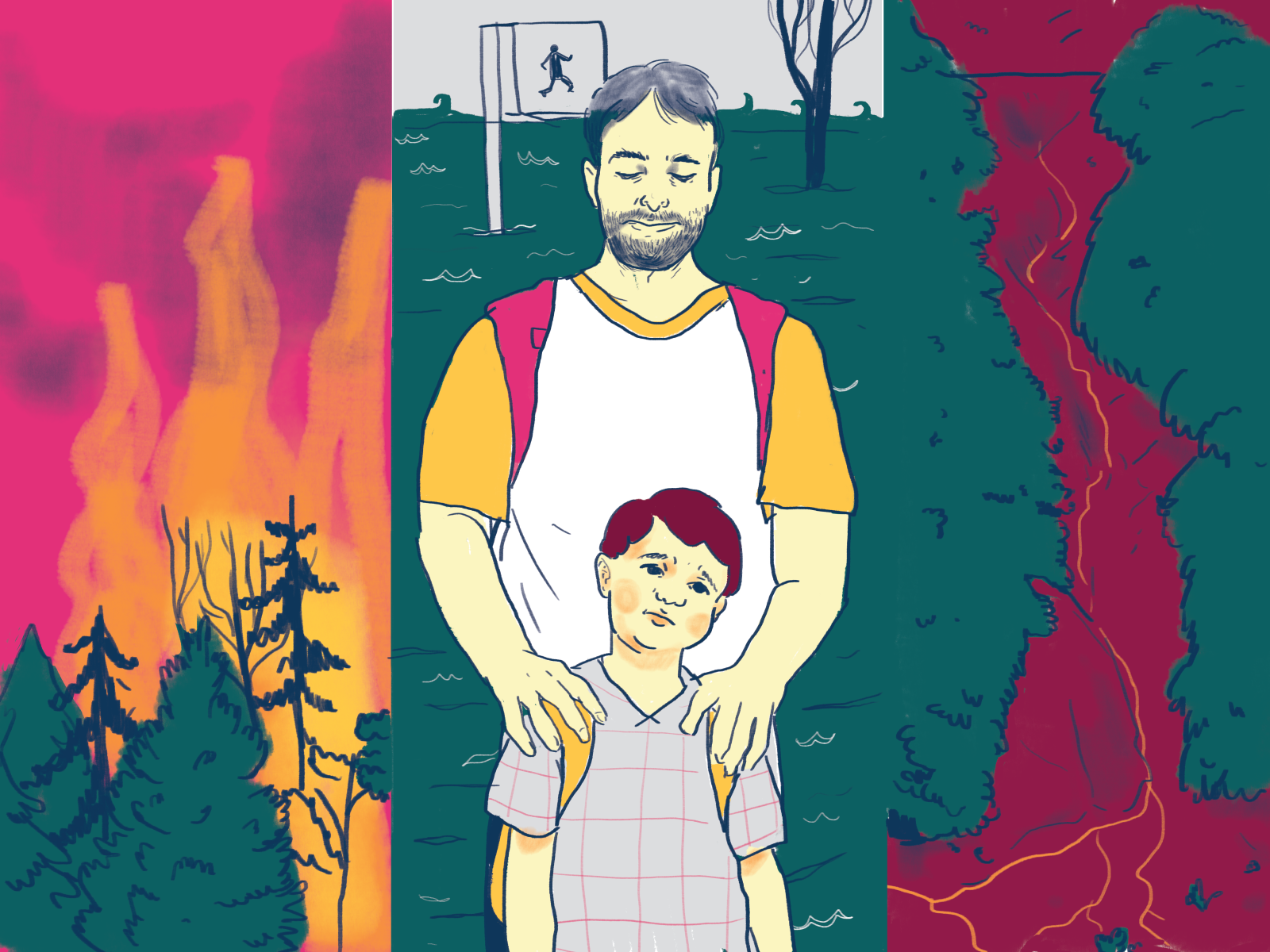 Illustration of father with hands on son's shoulders next to scenes of forest fires, flooding, and mudslides.
