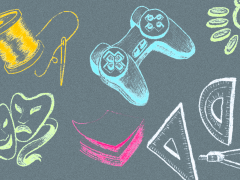 Abstract illustration of creative items including theatre mask, video game controller.