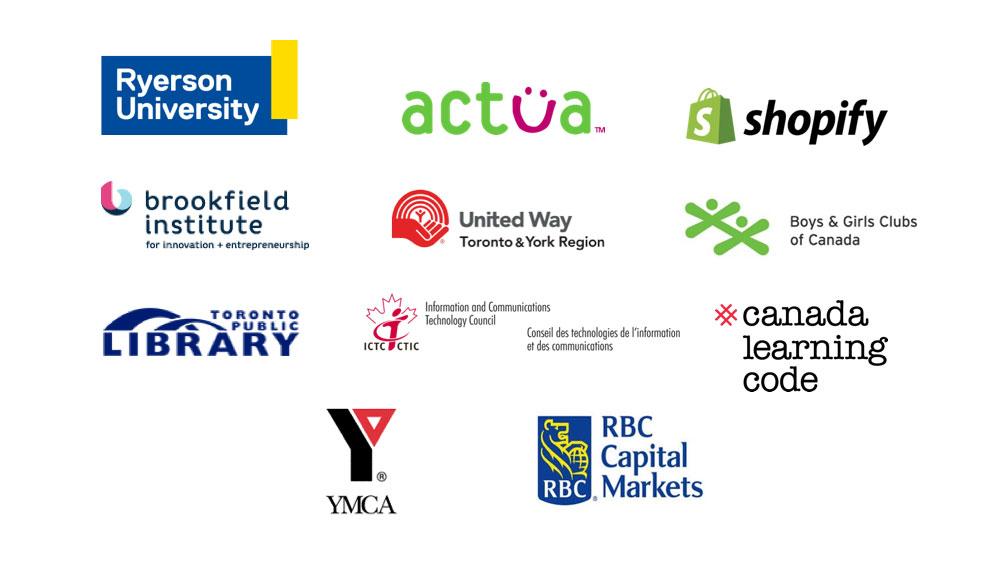 Array of logos including Ryerson University, Brookfield Institute, Toronto Public Library, YMCA.