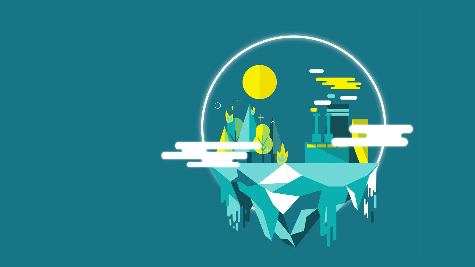 Illustration of abstract globe with city inside on blue background.