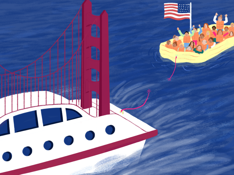 Illustration by Sophie Berg of raft with American flag floating away from boat with Golden Gate bridge.