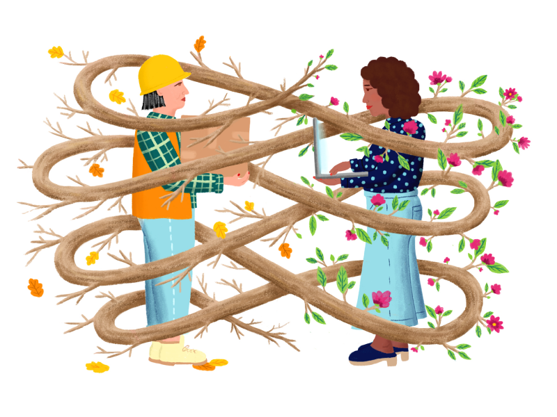 Illustration by Sophie Berg of a construction worker and knowledge worker surrounded by intertwined branches.