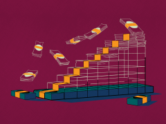 Abstract illustration of staircase made of money on burgundy background.