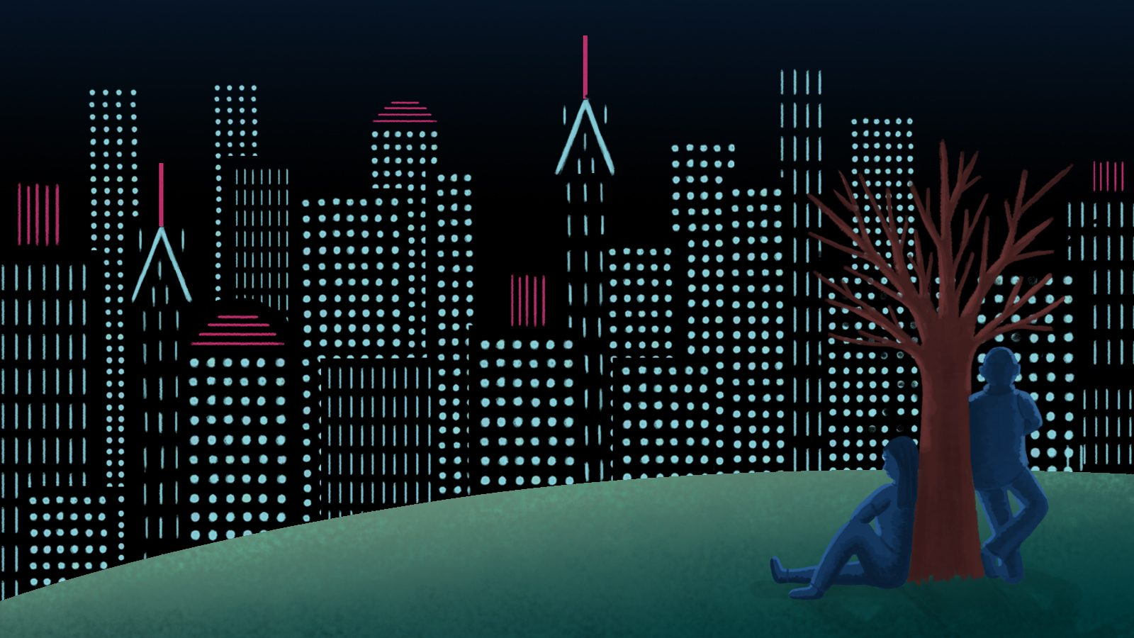 Illustration of two beings leaning on tree looking out at the city at night.