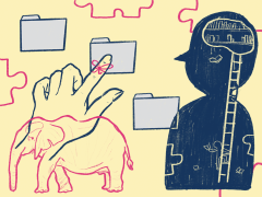 Abstract illustration of hand selecting computer folder next to human silhouette and elephant.