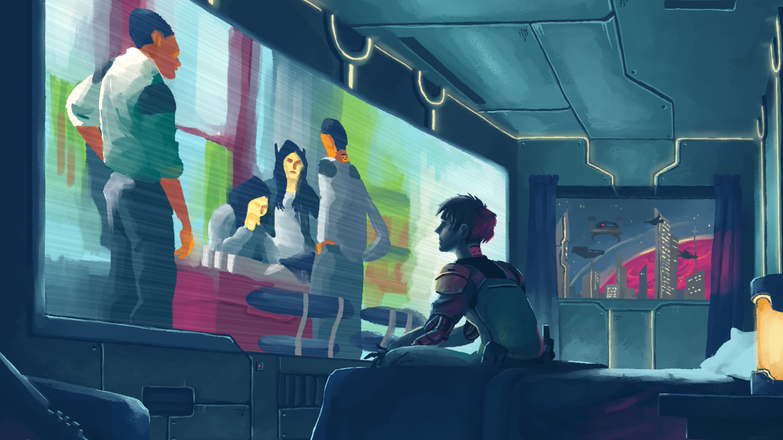 Illustration of cyborg watching TV show in bedroom.