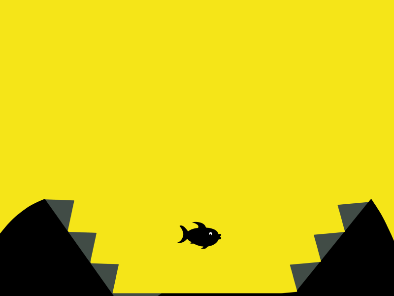 Illustration of a fish on a yellow background swimming in the jaws of a larger creature.