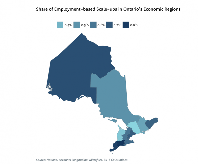 Map showing share of employment-based scale-ups in Ontario's economic regions.