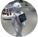 Photo of customer service robot.