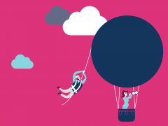 Illustration of person in hot air balloon with someone hanging off it.