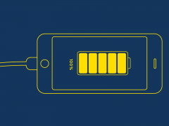 Illustration of cell phone charging with battery at 100%.