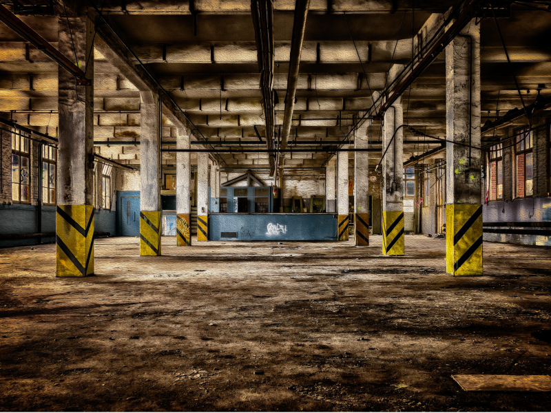 Photo of abandoned factory.