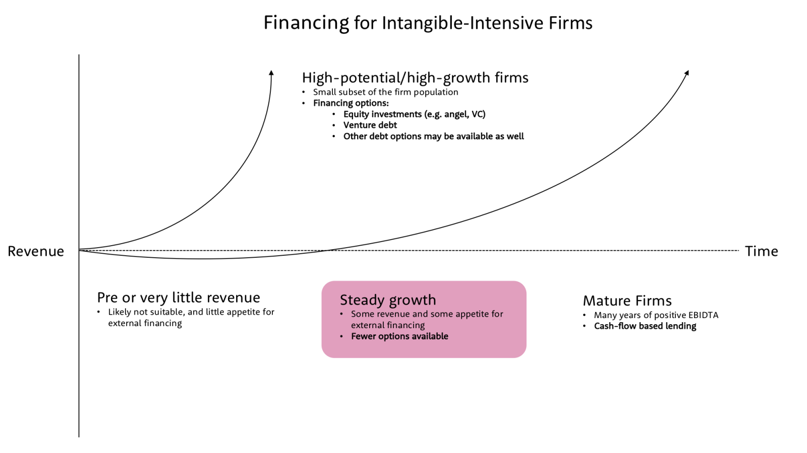 Visualization of financing for intangible-intensive firm life cycle; with revenue on y-axis and time on x-axis.